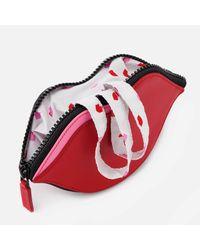 Lulu Guinness - Red Confetti Lip Print Foldaway Tote Bag - Lyst