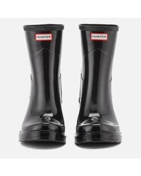 Hunter - Black Original Refined Mid Wedge Gloss Boots - Lyst