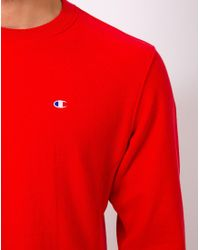 Champion | Reverse Weave Crew Neck Sweatshirt Red for Men | Lyst