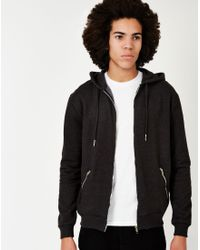 The Idle Man   Gray Zip Through Sweatshirt With Hood Charcoal for Men   Lyst