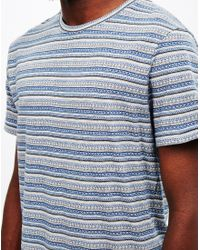 The Idle Man - Blue Jacquard Stripe T-shirt Navy for Men - Lyst