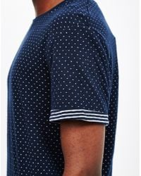 The Idle Man - Blue Double Faced Jacquard T-shirt Navy for Men - Lyst