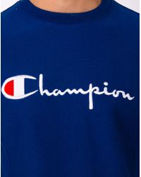 Champion - Reverse Weave Crew Neck Sweatshirt Blue for Men - Lyst