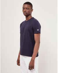 Champion - Blue Reverse Weave Crew Neck T-shirt Navy for Men - Lyst