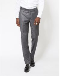 The Idle Man   Gray Slim Fit Pure Wool Suit Trousers Grey for Men   Lyst