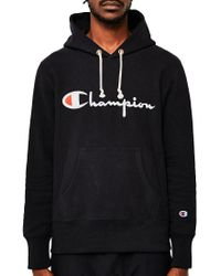 Champion - Reverse Weave Script Logo Hoodie Black for Men - Lyst