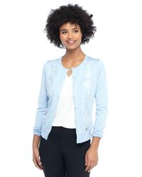 The Limited - Blue Lace Inset Cardigan - Lyst