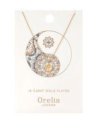 Orelia - Metallic Spiritual Yin Yang Ditsy Necklace - Lyst
