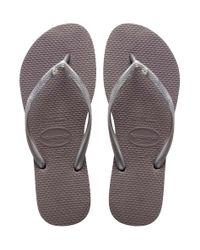 Havaianas - Gray Slim Swarovski Crystal Flip-flops - Lyst
