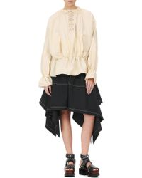 J.W. Anderson - Natural Oversized Blouse W/front Lacing - Lyst
