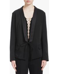 T By Alexander Wang - Black Front Tie Tux Blazer - Lyst