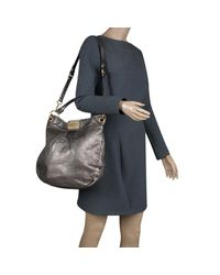 Marc By Marc Jacobs - Gray Metallic Leather Classic Q Hillier Hobo - Lyst