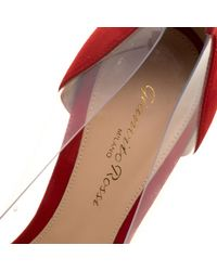 Gianvito Rossi - Red Tabasco Suede And Pvc Plexi Pointed Toe Pumps - Lyst
