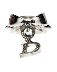 Dior - Metallic Bow Crystal Embellished Tone Ring - Lyst
