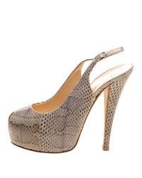 Giuseppe Zanotti - Natural Beige Snakeskin Leather Monro Platform Slingback Sandals Size 36 - Lyst