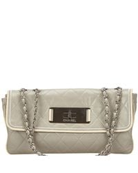 f6f195b8b849f4 Chanel Two Tone Quilted Leather Flap Bag - Lyst