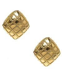 Chanel - Metallic Tone Square Clip On Earrings - Lyst