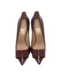 Ferragamo - Multicolor Leather Mimi Bow Detail Pointed Toe Pumps - Lyst