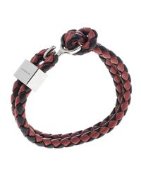 Burberry - Metallic Two Tone Braided Leather Silver Tone Bracelet for Men - Lyst