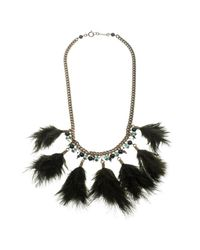 Isabel Marant - Green Dark Feather Gold Tone Necklace - Lyst