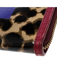 Marc By Marc Jacobs - Brown /red Leopard Print Coated Canvas Wingman Wallet - Lyst
