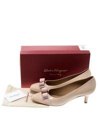 Ferragamo - Pink Blush Patent Leather Carla Vara Bow Pumps - Lyst