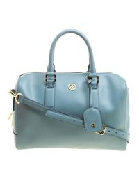 Tory Burch - Blue Turkish Leather Robinson Middy Satchel - Lyst