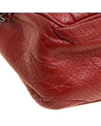 Chanel - Red Perforated Leather 50s Shoulder Bag - Lyst