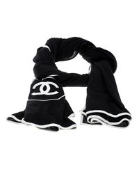 Chanel - Black Monochrome Cc Logo Embroidered Cashmere And Silk Knit Scarf - Lyst