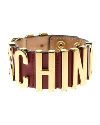 Moschino - Red Logo Plaque Leather Wide Bracelet S - Lyst