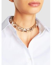 Lanvin | Metallic Gold-plated Crystal Choker | Lyst