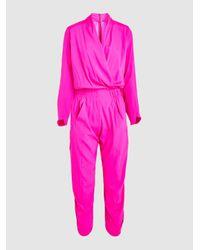 7b5db77d669 Lyst - Zero + Maria Cornejo Takeo Silk Long Sleeve Jumpsuit in Pink