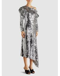 Preen By Thornton Bregazzi - Metallic Jodie Sequinned Off-the-shoulder Midi Dress - Lyst