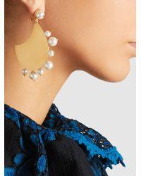 Razan Alazzouni - Metallic Gold-plated Earrings With Pearl Trim - Lyst