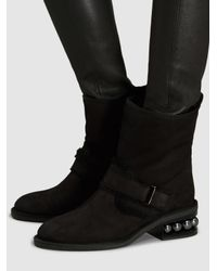 Nicholas Kirkwood - Black Casati Shearling And Pearl-embellished Biker Boot - Lyst