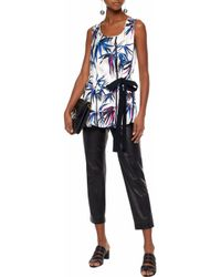 Emilio Pucci - White Gathered Printed Silk-twill Top - Lyst