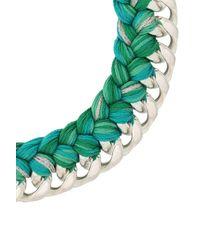 Aurelie Bidermann - Green Aurélie Bidermann Woman 18-karat White Gold-plated And Cotton Braided Necklace Emerald - Lyst