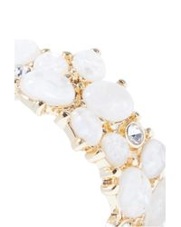 Kenneth Jay Lane - White Gold-tone Stone And Crystal Hoop Earrings - Lyst