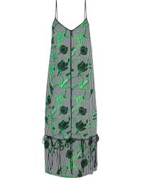 Lela Rose - Green Convertible Bow-detailed Printed Twill Midi Dress - Lyst