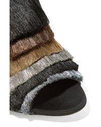 Sanayi 313 - Black Cascata Color-block Fringed Twill Mules - Lyst
