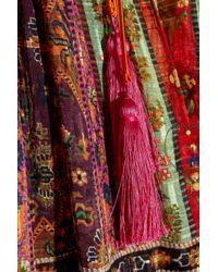 Etro - Brown Oversized Tasseled Printed Silk-chiffon Maxi Dress - Lyst