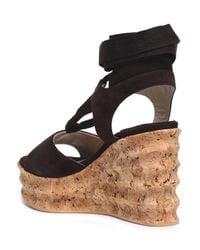 Paloma Barceló - Lace-up Suede Wedge Platform Sandals Dark Brown - Lyst