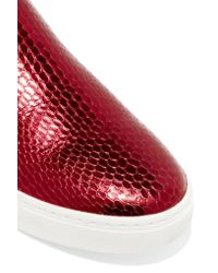 Marc By Marc Jacobs | Red Broome Patent And Snake-effect Leather Sneakers | Lyst