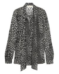 MICHAEL Michael Kors - Black Panther Pussy-bow Printed Chiffon Blouse - Lyst