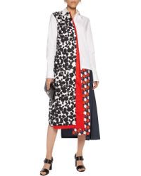 Victoria, Victoria Beckham - White Structured Flower Print Dress - Lyst