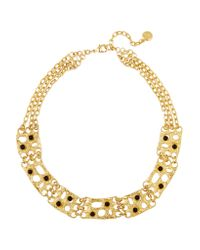 Ben-Amun | Metallic Gold-plated Black Cabochon Necklace | Lyst