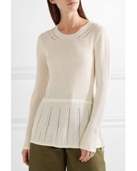 Maiyet - White Pointelle-trimmed Ribbed Stretch-knit Peplum Sweater - Lyst