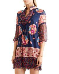 Anna Sui - Blue Printed Silk-jacquard And Silk-crepon Mini Dress - Lyst