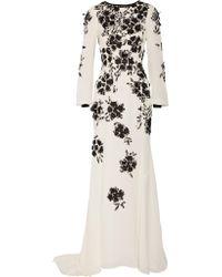 Oscar de la Renta - White Floral-appliquéd Silk-crepe Gown - Lyst