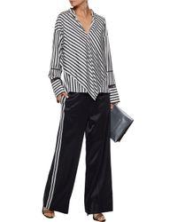 Derek Lam - Black Open Knit-trimmed Layered Striped Silk-satin Blouse - Lyst
